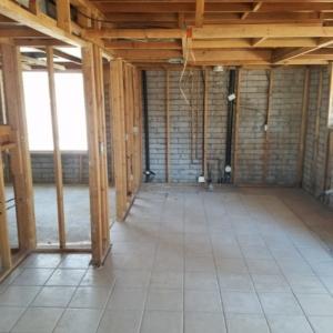 2 Story House leak, Mesa AZ, after demolition, kitchen