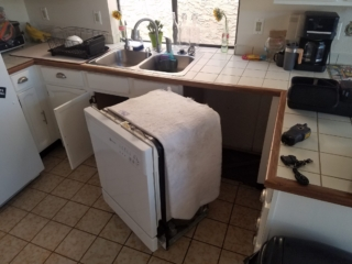 BEFORE: Drain Leak Inside Wall Behind Dishwater Caused CAT 3 Water Damage - Chandler, AZ