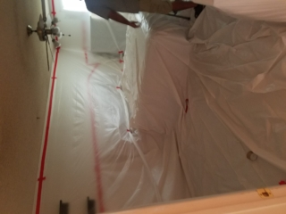 CONTAINMENT: Popcorn Ceiling Removal in Bedroom - Mesa, AZ.