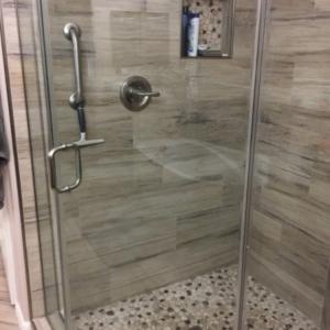 Scottsdale, AZ Tile Shower Remodel, Master Bathroom After Damage Restoration and Mold Remediation